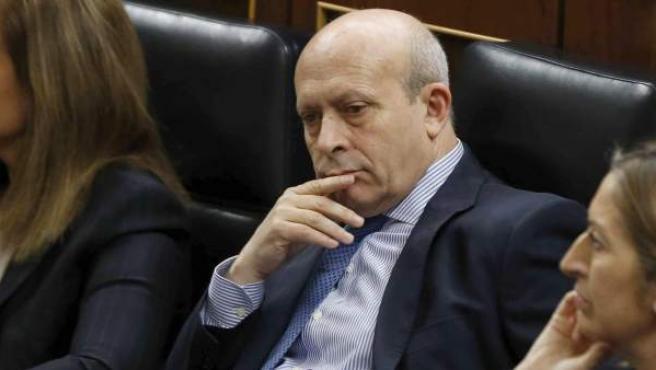 El ministro de Educación y Cultura, José Ignacio Wert, durante una sesión de control al Gobierno del Congreso.