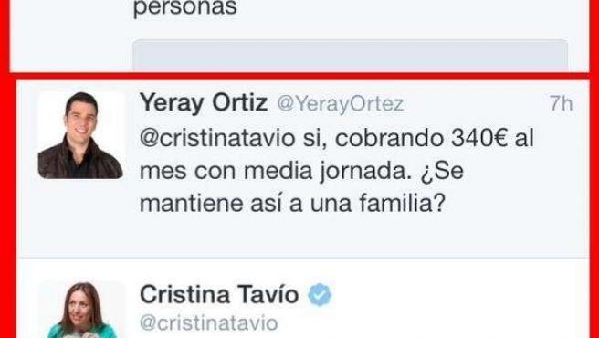 Tweet de Cristina Tavío en relación al empleo precario