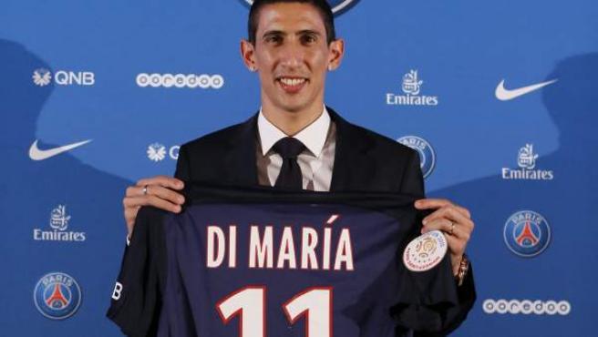 Ángel di María durante su presentación como nuevo jugador del París Saint-Germain en París.