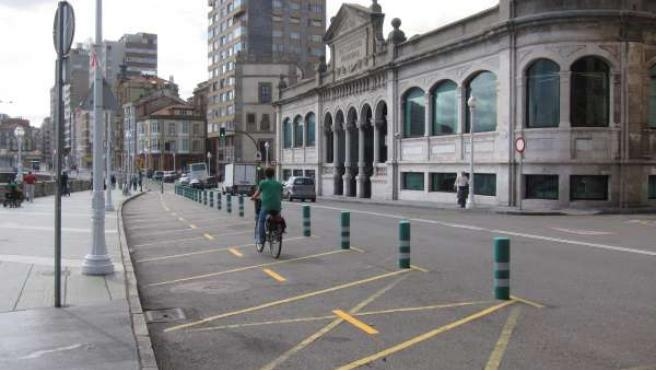 Carril bici provisional.