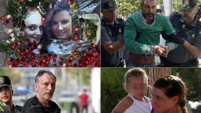 De izquierda a derecha y de arriba abajo: Marina y Laura, las jóvenes asesinadas en Cuenca, el presunto asesino de sus hijas en Moraña, el edil de Serra acusado de la muerte de su mujer y la madre que degolló a su bebé recién nacido en un pueblo de Toledo.