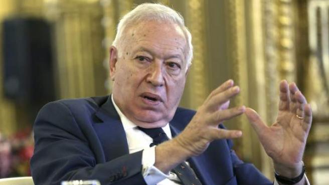El ministro de Asuntos Exteriores, José Manuel García-Margallo, durante un coloquio.