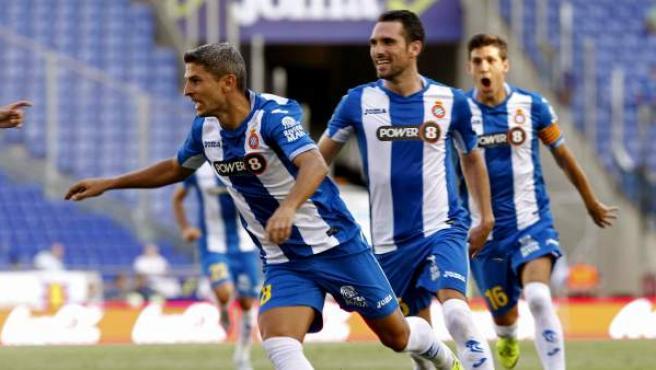 Salva Sevilla celebra el que era el primer gol de esta Liga 2015-26.