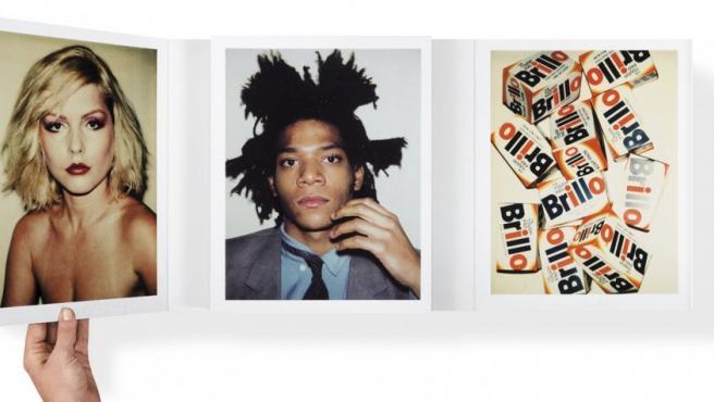 Uno de los pliegos del libro de fotos Polaroid de Warhol. Desde la izquierda, Debbie Harry (Blondie), el pintor Basquiat y bodegón con cajas del detergente Brillo