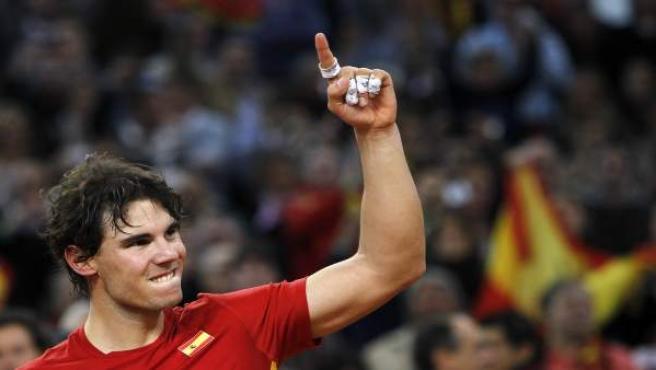 Rafa Nadal celebra el título de la Copa Davis.