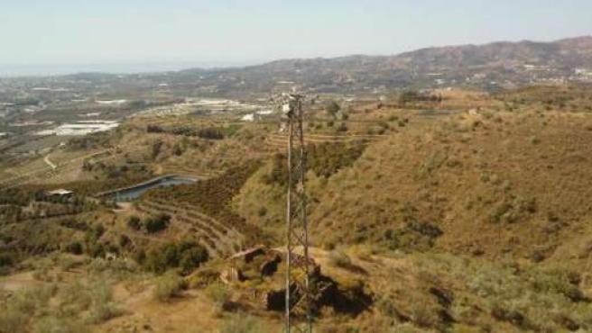 Torre eléctrica en Vélez-Málaga que es un peligro para las aves