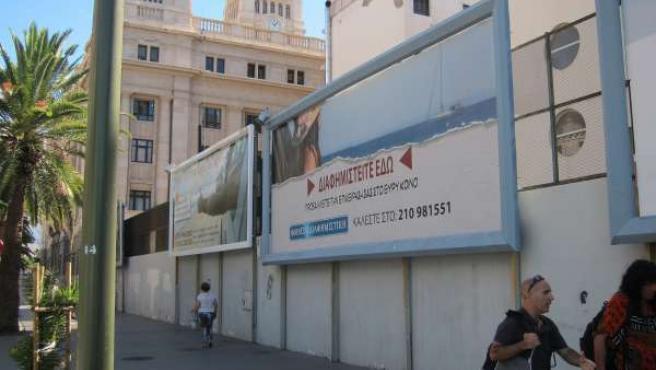 Carteles publicitarios en griego para la película 'Bourne'