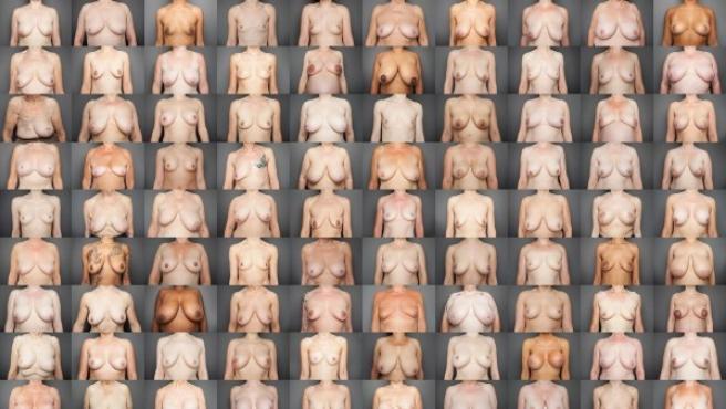 Mosaico de la fotógrafa Laura Dodsworth con las cien mujeres que muestran sus pechos en 'Realidad desnuda'