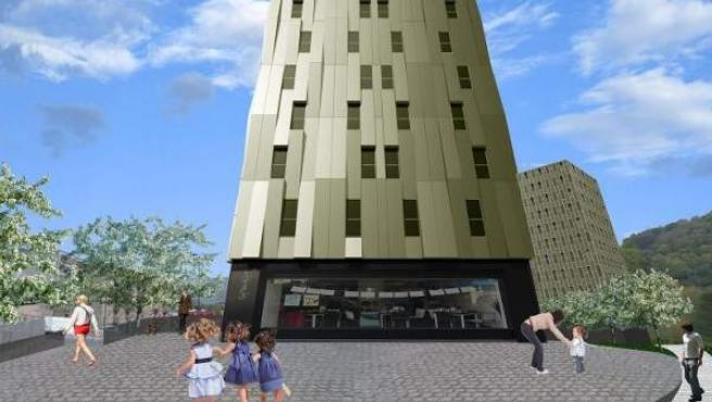 Imagen virtual de cómo será el rascacielos sostenible de Bilbao.