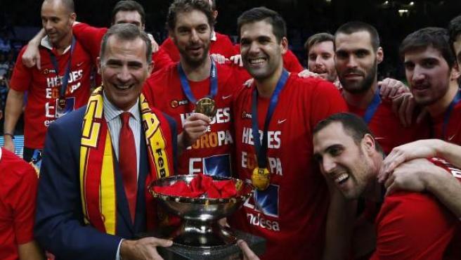 Felipe VI compartió con los jugadores su alegría por el Eurobasket.