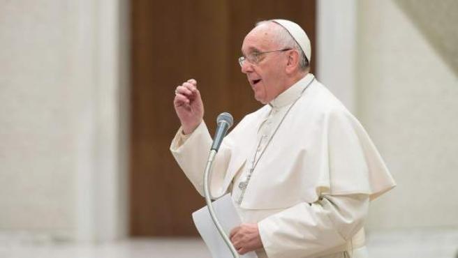 El papa Francisco durante la reunión de la conferencia de las Cooperativas italianas en el Vaticano.