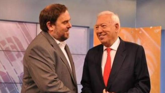 Margallo y Junqueras en el debate televisado por 8TV.