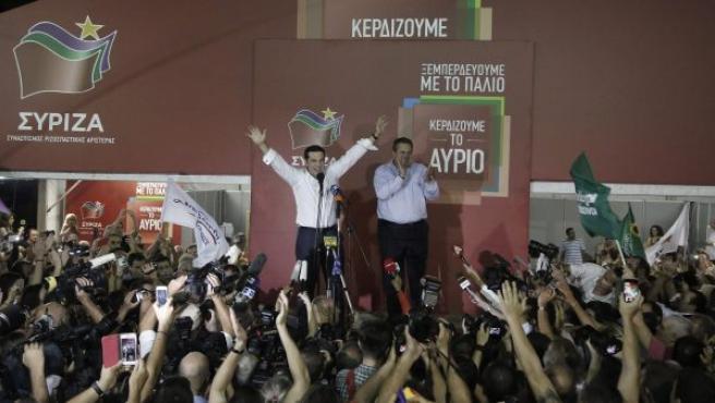Alexis Tsipras celebra la victoria de Syriza en las elecciones del 20 de septiembre de 2015.