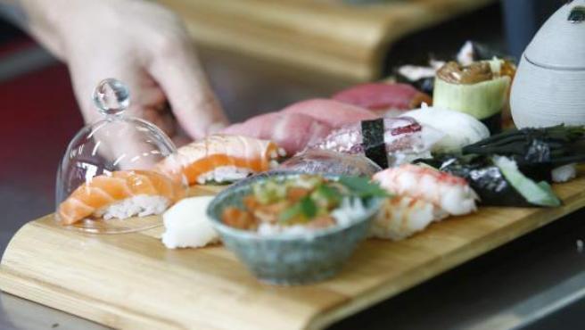 Una creación con diferentes piezas de sushi del chef Andrés Medici (restaurante Osushi, Vigo), realizada durante la competición Global Sushi Challenge.