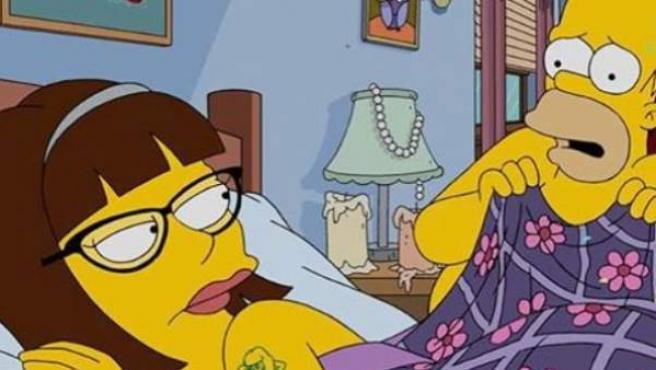 La imagen de los Simpson donde aparece Homer en la cama con Lena Dunham