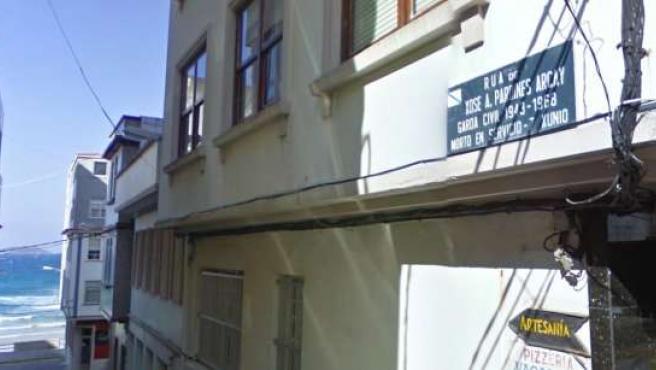 Calle dedicada a Pardines en su pueblo natal de Malpica (La Coruña)