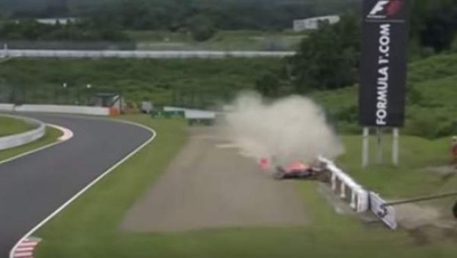 Accidente del ruso Daniil Kvyat en Suzuka.