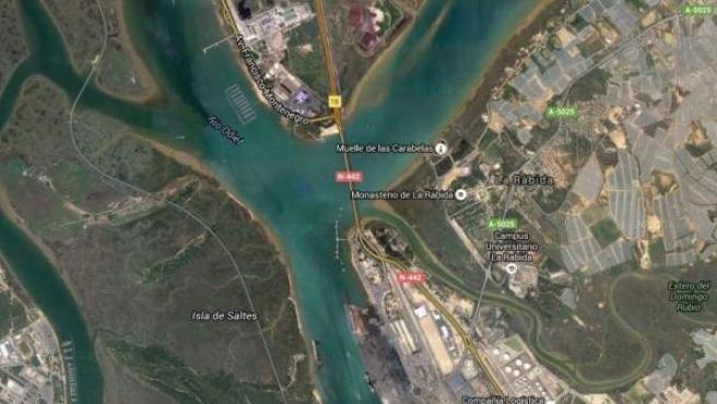 Vista vía satélite de Palos, en Huelva, de donde partió Cristóbal Colón para descubrir América.