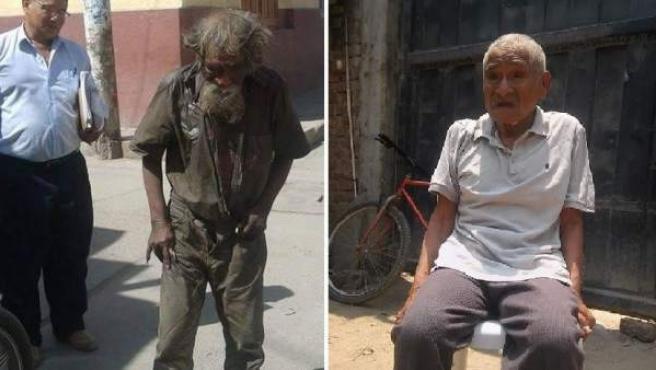 Los vecinos de la localidad peruana de Ferreñafe decidieron ayudar a Luciano Chumán, un mendigo de la localidad, al que asearon y vistieron con ropas limpias.