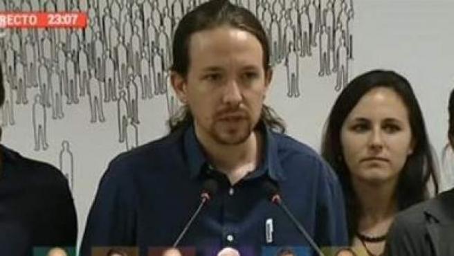 Pablo Iglesias, compareciendo tras las elecciones catalanas.