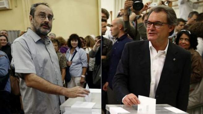 Combo de imágenes del candidato de la CUP, Antonio Baños, y el presidente de la Generalitat y 'número 4' de Junts pel Sí, Artur Mas.