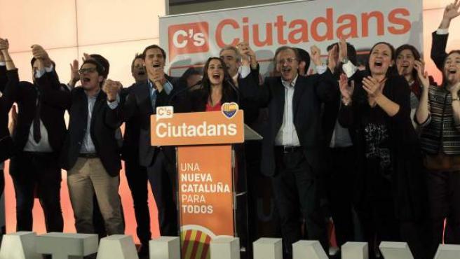 Euforia en la sede de Ciudadanos tras unas elecciones que les colocan como la segunda fuerza política de Cataluña.