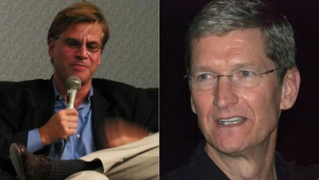 El guionista Aaron Sorkin y Tim Cook, CEO de Apple.