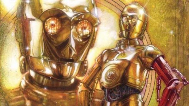 C3PO luce su nuevo brazo rojo en la portada de la novela gráfica 'Star Wars: C3PO'.