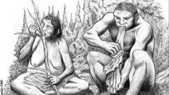 Dibujo de una pareja de neandertales.