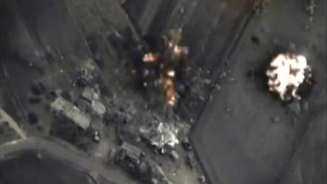 Imagen de un bombardeo en Hmeymim difundida por las autoridades del Kremlin.