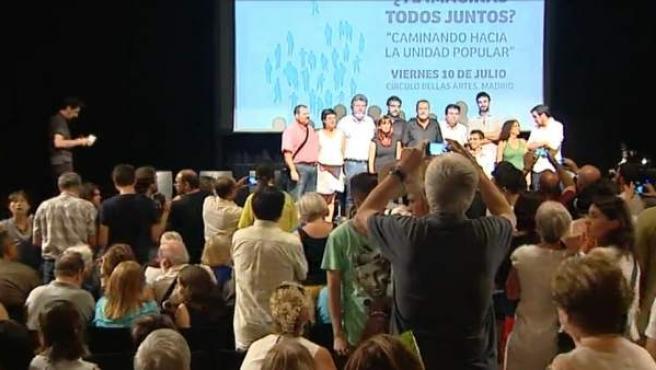 Acto de Ahora en Común en el Círculo de Bellas Artes de Madrid.