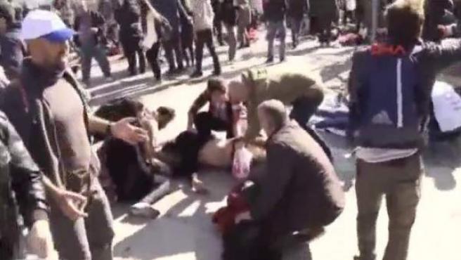Imagen del atentado mortal en Ankara.