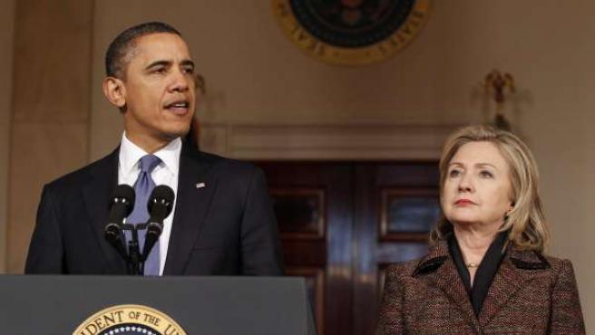 El presidente de EE UU, Barack Obama, junto a la secreatia de Estado, Hillary Clinton.