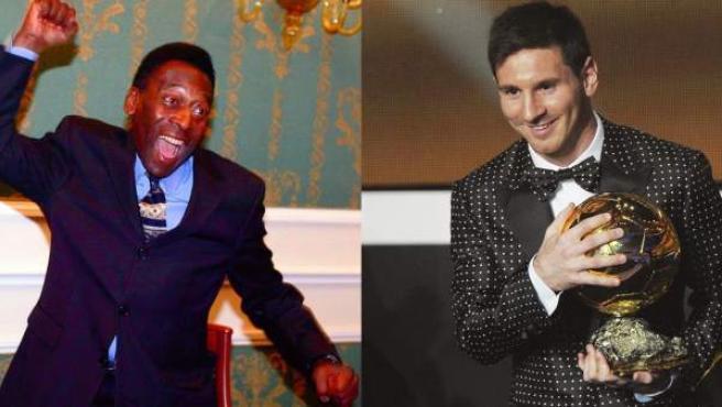 Los futbolistas Pelé y Messi.