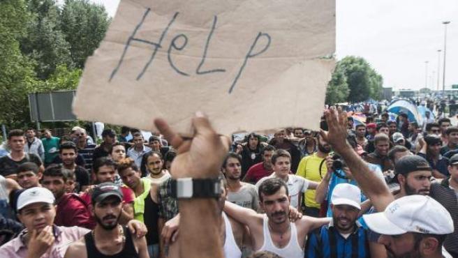 """Un refugiado muestra una pancarta en la que se puede leer """"Ayuda"""" durante una manifestación en la frontera con Hungría cerca de Horgos al norte de Serbia."""