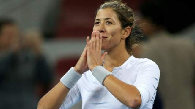 La tenista española Garbiñe Muguruza, tras ganar en el Open de China.