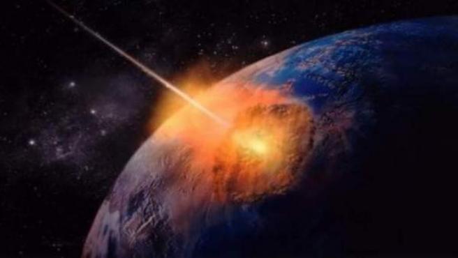 Representación de un meteorito impactando contra la Tierra.