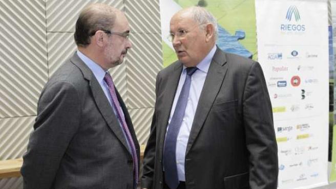 Javier Lambán junto a César Trillo, este miércoles en Huesca