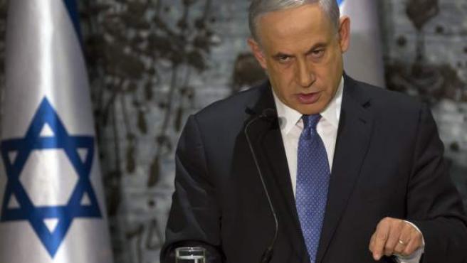 El primer ministro israelí, Benjamín Netanyahu, pronuncia unas palabras durante una ceremonia en Jerusalén, Israel.