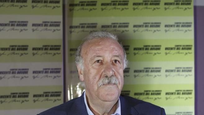 El seleccionador nacional de fútbol, Vicente del Bosque, mantiene en Salamanca un encuentro con los participantes en el Campus que lleva su nombre el 15 de julio de 2015.