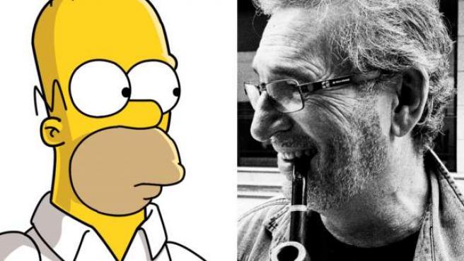 Homer Simpson y Carlos Ysbert, su actor de doblaje en España.