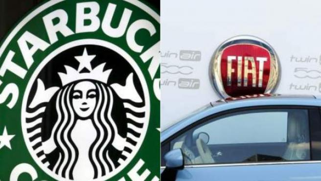 Logotipos de las multinacionales Starbucks y Fiat.