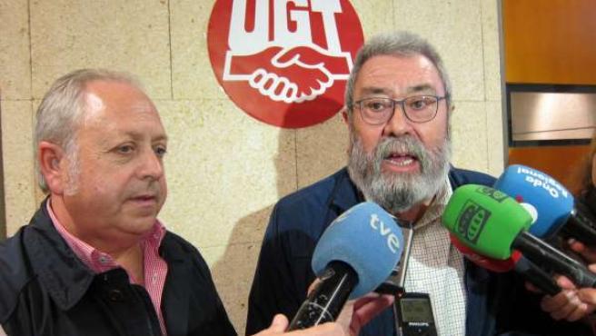 Cándido Méndez y Antonio Jiménez de UGT atienden a los medios en Murcia