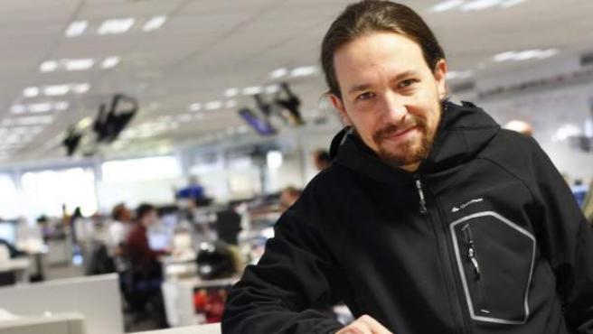 Pablo Iglesias, líder de Podemos, durante una visita a la redacción de 20minutos.