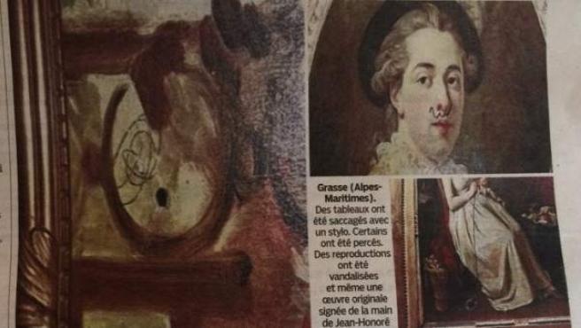 Imagen publicada en el diario francés 'Le Parisien' del estado en que han quedado varios cuadros del s. XVIII en el Museo Fragonard de Grasse.
