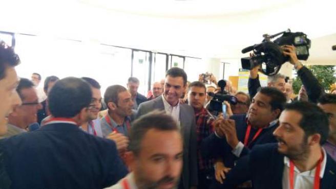 Pedro Sánchez a su llegada a la Universidad de Alicante