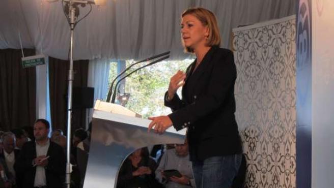 La secretaria general del PP, María Dolores de Cospedal, en Lugo