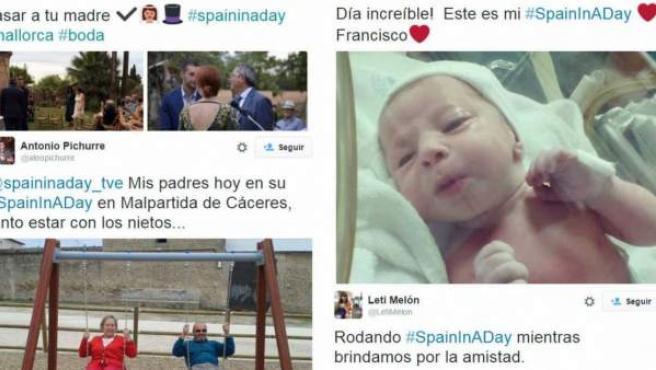 Algunos de los vídeos enviados a 'Spain in a day', mostrados en Twitter por los usuarios.