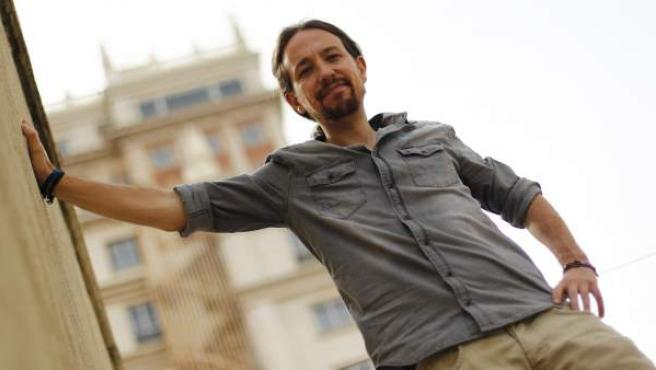 Pablo Iglesias, en la sede de la oficina de Podemos en Madrid.
