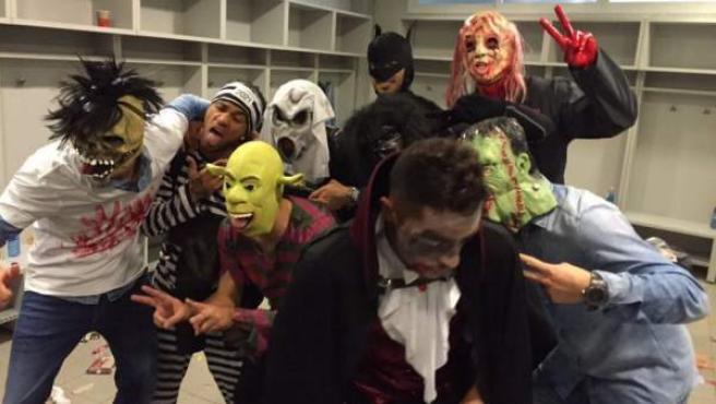 Jugadores del Barça, disfrazados por Halloween.